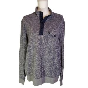 Lucky Brand Space Dye 1/4 Button Pullover Sweater